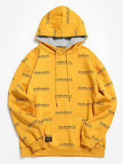 Chinese Character Print Fleece Hoodie - Yellow S