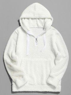 Top Zipper Solid Fluffy Hoodie - White L