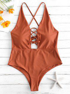 ZAFUL Lace Up Backless Swimsuit - Mahogany M