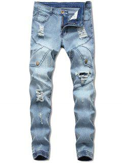 Button Embellish Destroyed Jeans - Light Blue 32