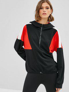Half Zipper Color Block Hoodie - Black S