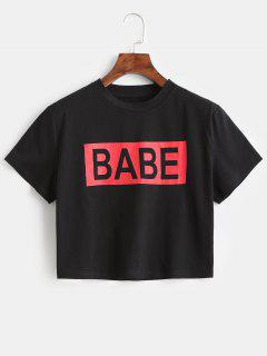 Camiseta Corta Estampada Jersey De ZAFUL - Negro L