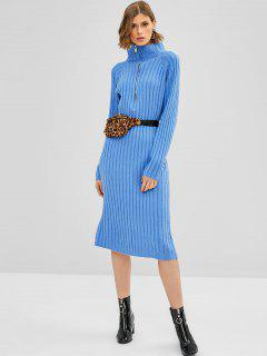 Half Zip Knitted Sweater Dress - Blue