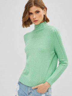 Ribbed Knit High Collar Sweater - Green