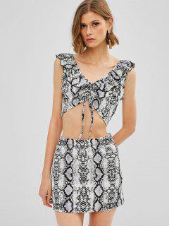 ZAFUL Snakeskin Print Ruched Crop Skirt Set - Multi-a M