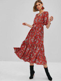 Floral Ruffles Surplice Maxi Dress - Chestnut Red L