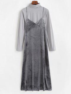 Turtleneck Tee And Cami Velvet Dress - Gray M