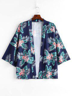 Flowers Leaves Print Kimono Jacket - Blueberry Blue M
