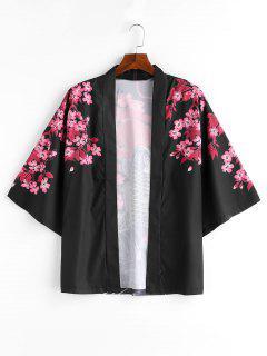Flower Fish Print Kimono Style Jacket - Black 2xl