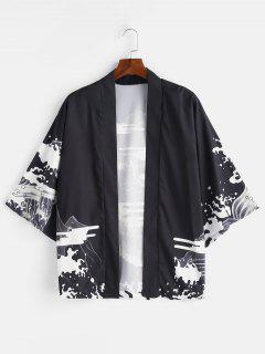 Dragon Printed Kimono Front Open Jacket - Black L