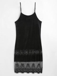 Lace Panel Velvet Cami Dress - Black M