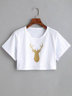 Elk Graphic Cropped T-shirt - White S