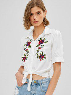 Knotted Hem Floral Embroidery Shirt - White M