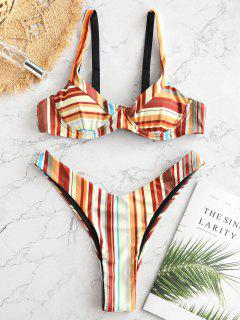 ZAFUL Colorful Striped Underwire High Leg Bikini Set - Multi-b M