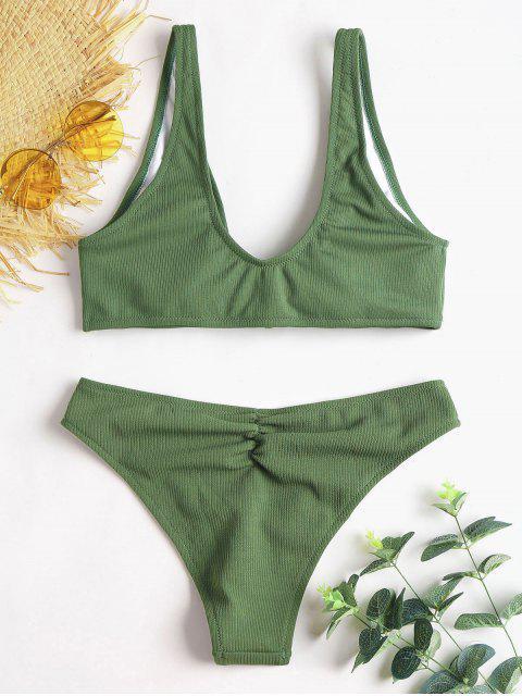 womens Bowtie Ribbed Scrunch Butt Bikini - ARMY GREEN S Mobile