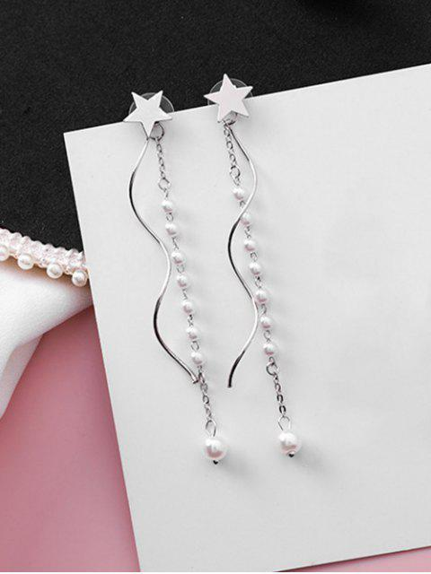 fashion Star Design Beading Dangle Earrings - SILVER  Mobile