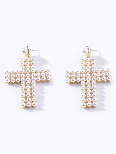 Boucles d'Oreilles en Forme de Croix avec Strass et Fausse Perle - Blanc  Mobile