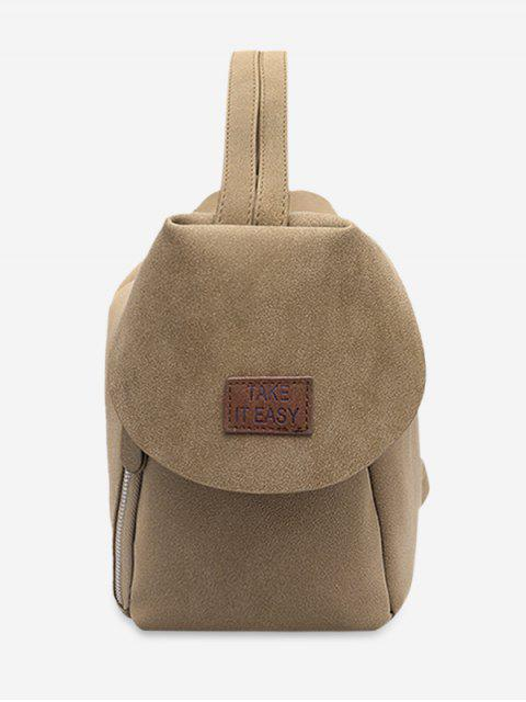 womens Letter Patchwork Convertible Backpack - LIGHT KHAKI  Mobile