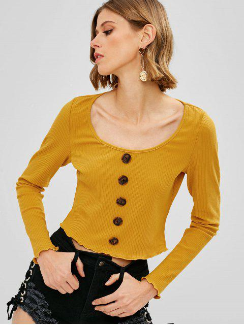 shop ZAFUL Buttons Embellished Ribbed Knitwear - BRIGHT YELLOW S Mobile
