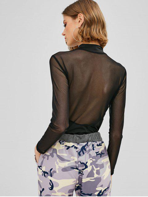 hot ZAFUL Mesh Panel Long Sleeve Bodysuit - BLACK M Mobile