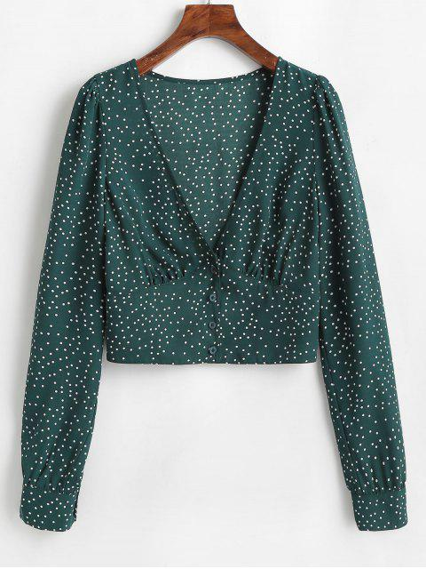 new ZAFUL Polka Dot Plunge Crop Blouse - DARK GREEN L Mobile