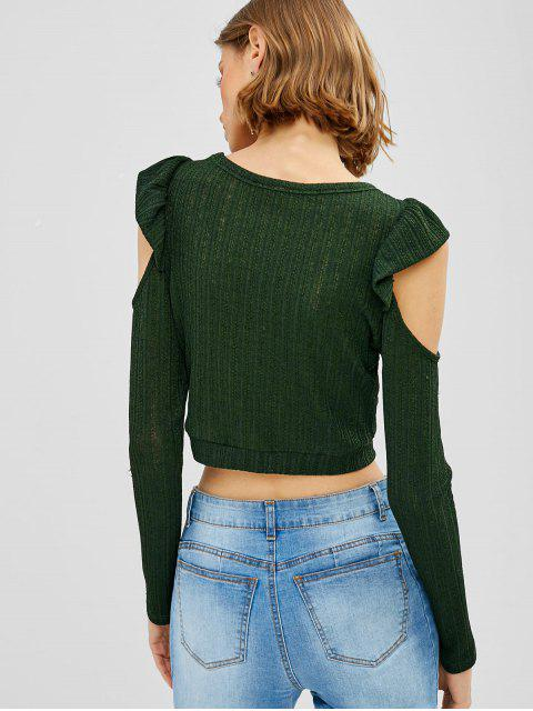 shops ZAFUL Cold Shoulder Ruffled Knit Tee - DARK GREEN M Mobile