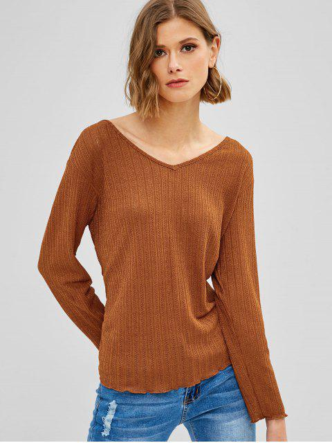 shop ZAFUL Tied Backless Long Sleeve Knit Tee - SEPIA XL Mobile