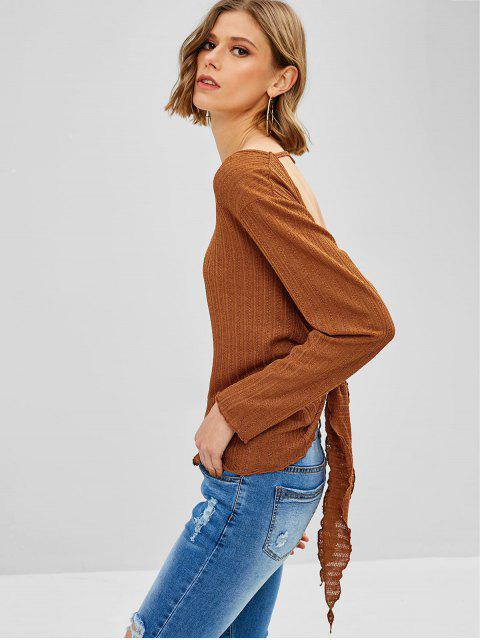 affordable ZAFUL Tied Backless Long Sleeve Knit Tee - SEPIA M Mobile
