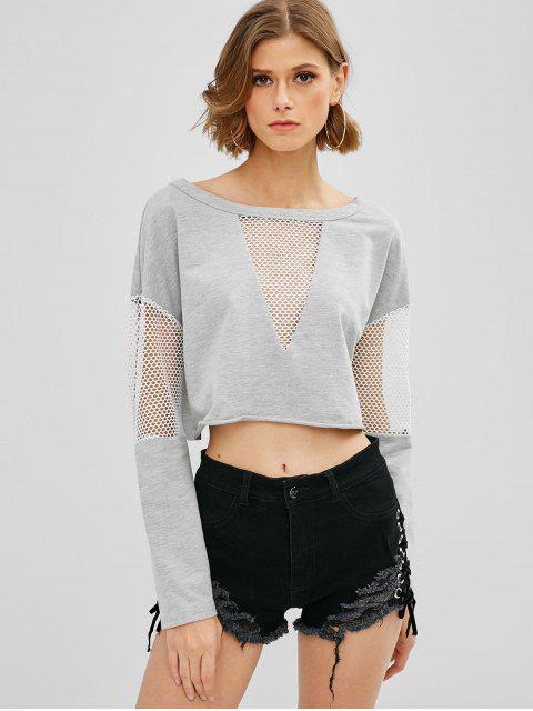 ZAFUL Sweat-shirt Ajouré Court à Ourlet Brut - Oie grise XL Mobile