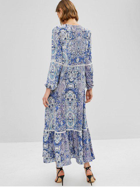 new ZAFUL Flounce Maxi Printed Long Sleeve Dress - DAY SKY BLUE L Mobile