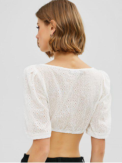 fancy ZAFUL Cinched Eyelet Crop Blouse - WHITE M Mobile