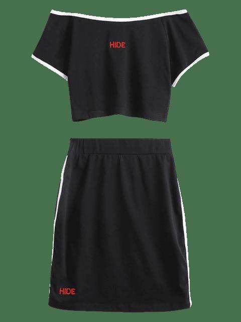 best ZAFUL Letter Embroidered Boat Neck Skirt Set - BLACK L Mobile