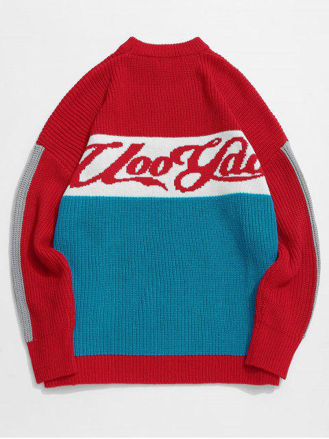 new Color Block Letter Pattern Knit Sweater - RED XL Mobile