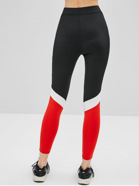 chic Color Block Skinny High Rise Leggings - BLACK S Mobile