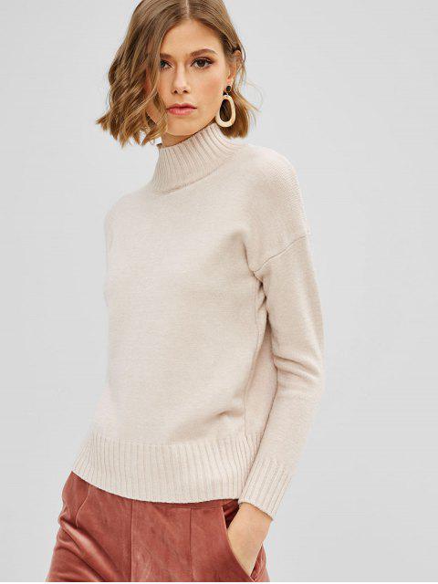 online Ribbed Hem Mock Neck Sweater - APRICOT ONE SIZE Mobile