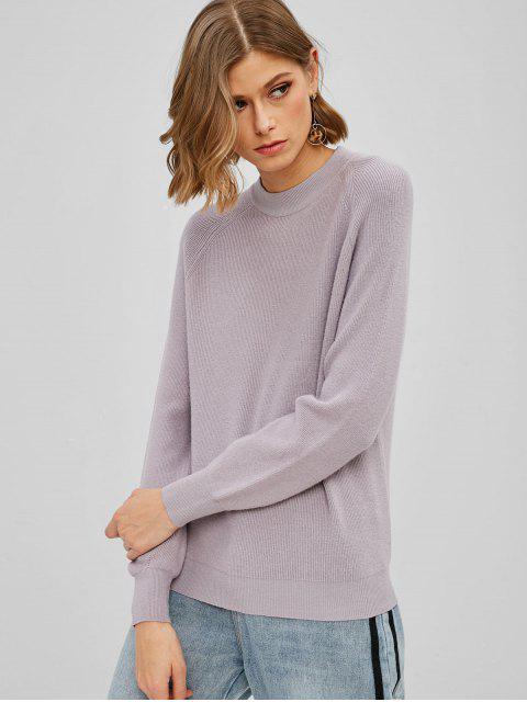 unique Raglan Sleeve Knit Crew Neck Sweater - PURPLE ONE SIZE Mobile