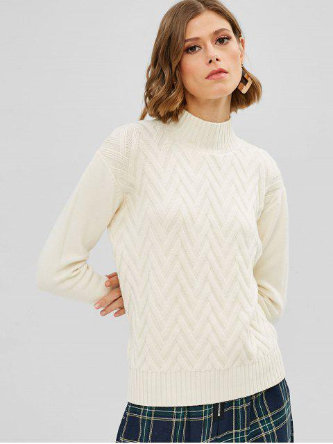 Pull Géométrique en Tricot à Col Montant - Blanc Chaud Taille Unique Mobile