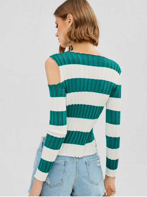 women's Striped Ribbed Cropped Cut Out Sweater - MULTI ONE SIZE Mobile