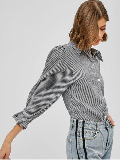 new Tied Sleeve Striped Button Up Blouse - GRAY L Mobile