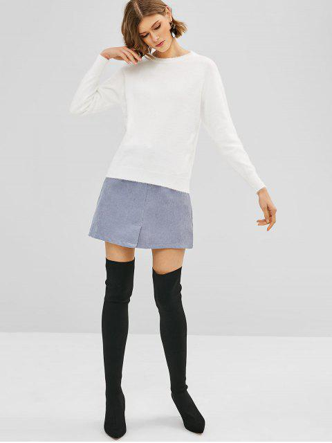 chic Raglan Sleeve Fuzzy Sweater - WHITE ONE SIZE Mobile