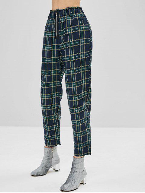 Pantalon Fuselé à Carreaux à Taille Haute - Multi L Mobile