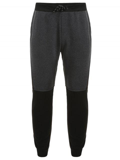 outfit Color Block Patchwork Drawstring Fleece Pants - GRAY L Mobile