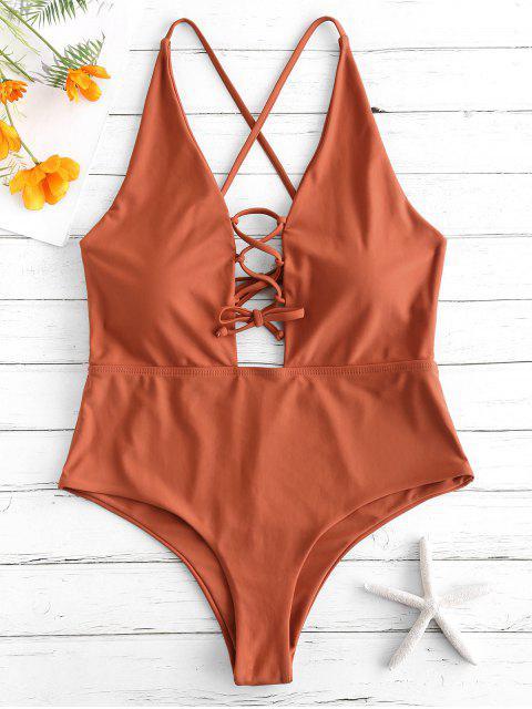 buy ZAFUL Lace Up Backless Swimsuit - MAHOGANY XL Mobile
