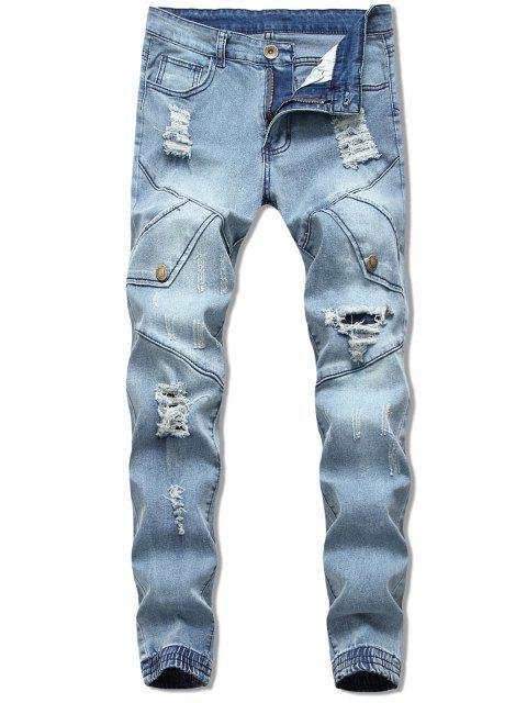 shops Button Embellish Destroyed Jeans - LIGHT BLUE 38 Mobile