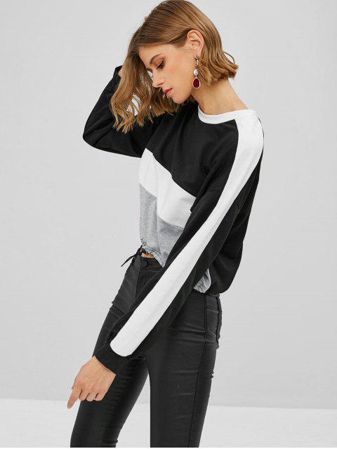 Sweat-shirt Court en Blocs de Couleurs - Noir S Mobile
