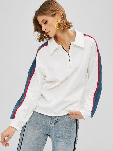 lady Color Block Quarter Zipper Sweatshirt - WHITE XL Mobile