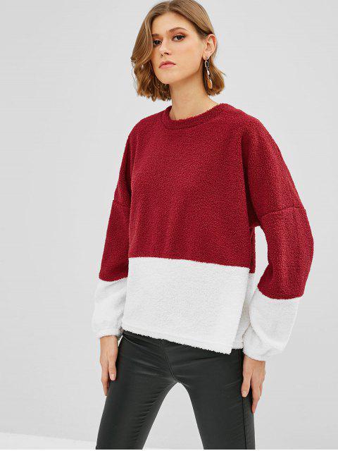 Sweat-shirt Lâche Fourré en Blocs de Couleurs - Rouge Vineux M Mobile