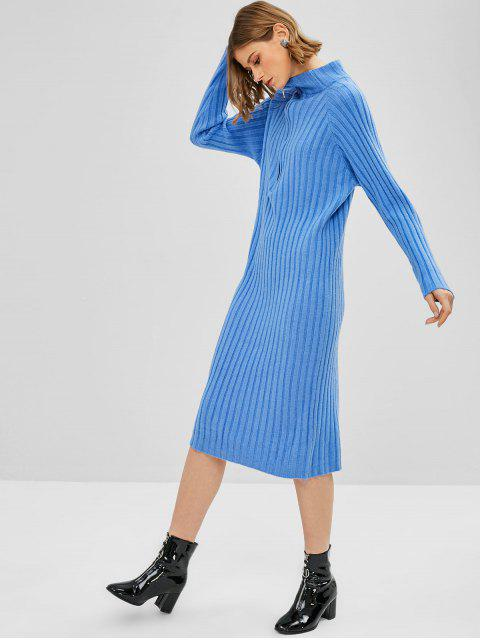 Robe Pull Tricotée à Demi-zip - Bleu Taille Unique Mobile