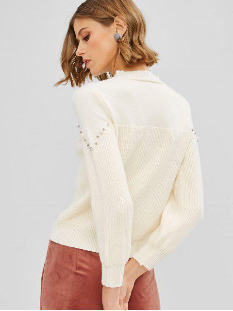 Pull avec Fausse Perle à Col Bénitier - Blanc Chaud Taille Unique Mobile