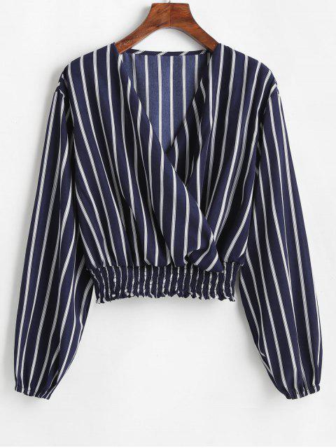 new ZAFUL V Neck Smocked Striped Top - MIDNIGHT BLUE L Mobile